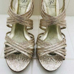 Adrianna Pappell Gold Strappy Heel Size 8
